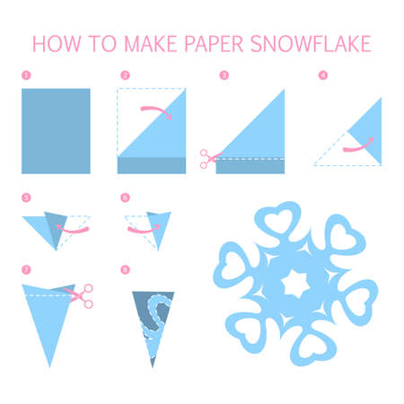 How to make christmas blue snowflake of different shape diy. Step-by-step instruction for paper origami toy. Tutorial for children. Isolated vector flat illustration
