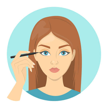 Woman doing facial make up and apply eye liner. Girl use dark cosmetic. Idea of beauty and fashion. Professional makeup. Isolated vector illustration in cartoon style