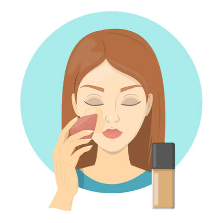Woman applying face foundation for perfect makeup. Beautiful girl care about skin and use sponge for cosmetic. Preparing skin for contouring. Isolated vector illustration in cartoon style