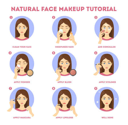 Face makeup tutorial for woman. Applying powder Illustration