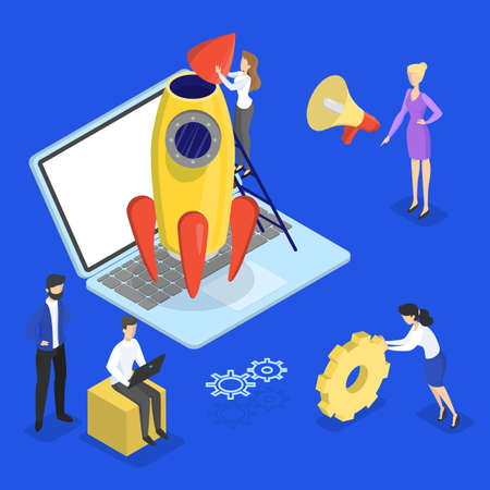 Rocket launch as a metaphor of startup. Business development concept. Entrepreneurship concept. People work together in company. Flat vector illustration Иллюстрация