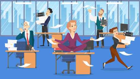 Deadline concept. Idea of many work and few time. Employee in a hurry. Panic and stress in office. Business problems. Woman in lotus pose. Flat vector illustration