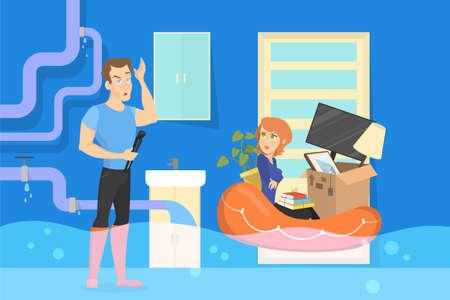 Familie in der überfluteten Wohnung. Notfall- und Sanitärproblem. Unfall im Zimmer. Isolierte Vektorillustration im Cartoon-Stil