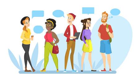 Le persone parlano tra loro in un gruppo. Idea di comunicazione e conversazione. Messaggio in un fumetto. Chiacchierando con un amico. Illustrazione vettoriale isolato in stile cartone animato