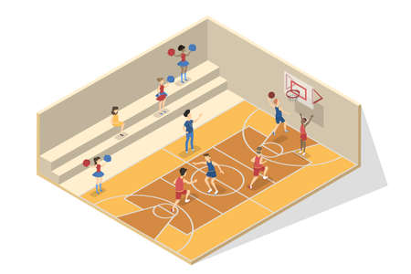 Children play basketball in the school gym. University or college player on the playground. Sport activity. Vector isometric illustration isolated