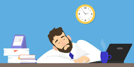 Stressed man suffering from the insomnia. Tired sleepy character at work in office. Flat vector illustration Stock Illustratie