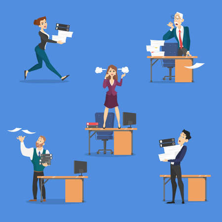 Deadline set. Idea of many work and few time. Employee in a hurry. Panic and stress in office. Business problems. Flat vector illustration Illustration
