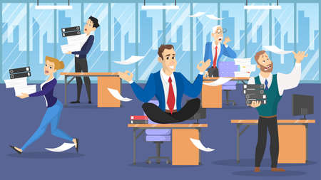 Businessman sitting on the table in lotus pose during deadline. Employee in panic. Man make meditation against stress. Flat vector illustration Vettoriali