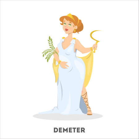 Demeter greek goddess from ancient mythology. Female character Vettoriali