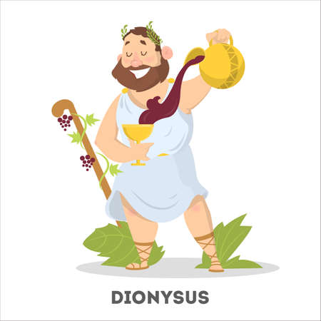 Man with beard and wine from greece mythology 矢量图像