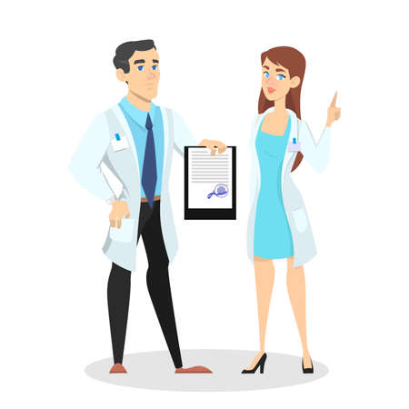 Doctor and nurse in the hospital office. Medical worker in uniform with equipment. Isolated vector illustration in cartoon style