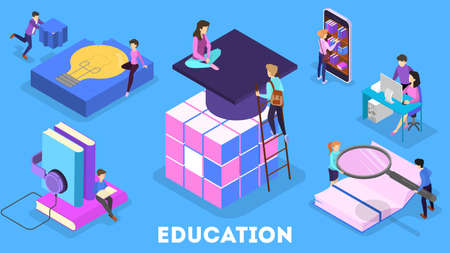 Knowledge and education concept. People learning online in university. Science and brainstorming. Isolated vector isometric illustration Çizim