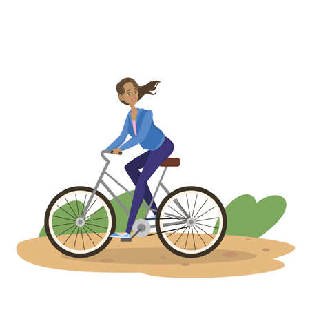 Woman ride bike in city park. Cute girl biking. Healthy lifestyle and summer leisure. Isolated vector illustration in cartoon style
