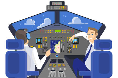 Pilot in cockpit smiling. Control panel in airplane