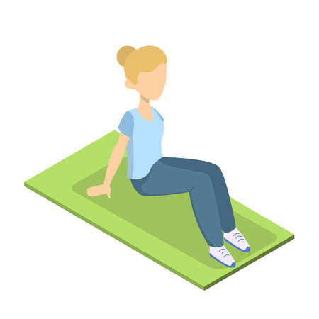 Girl doing crunches in the gym. Belly burn workout. ABS workout. Healthy and active lifestyle. Isolated vector illustration
