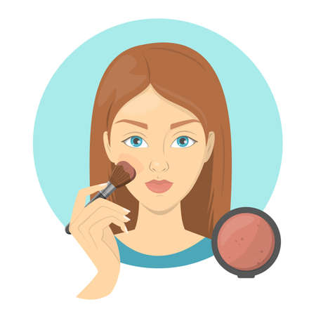 Woman applying face blush for perfect makeup. Beautiful girl care about skin and use bursh for cosmetic. Isolated vector illustration in cartoon style