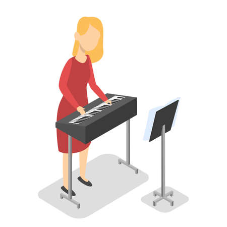 Girl play piano on music lesson. Kid with the keyboard. School child in dress. Isolated vector isometric illustration