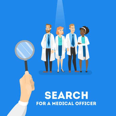 Auf der Suche nach einem Arztkonzept. Krankenhausarbeiter brauchen. Vektorgrafik