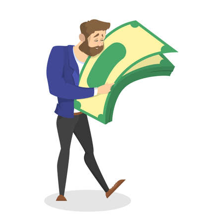 Businessman with money. Happy successfull man hug a pile of money banknotes. Financial well-being. Isolated vector illustration in cartoon style