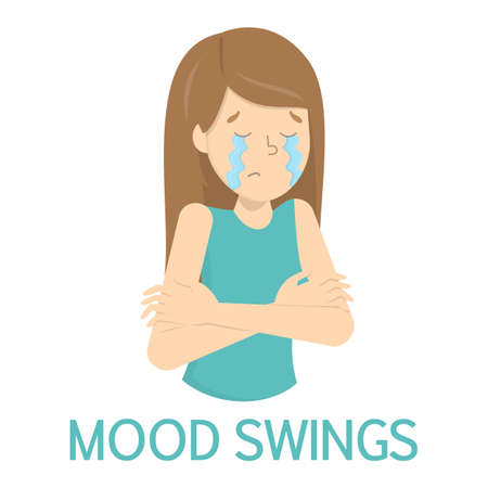 Woman with mood swings. Crying girl with bad emotion. Depression as symptom of pregnancy or disease. Isolated flat vector illustration Illustration