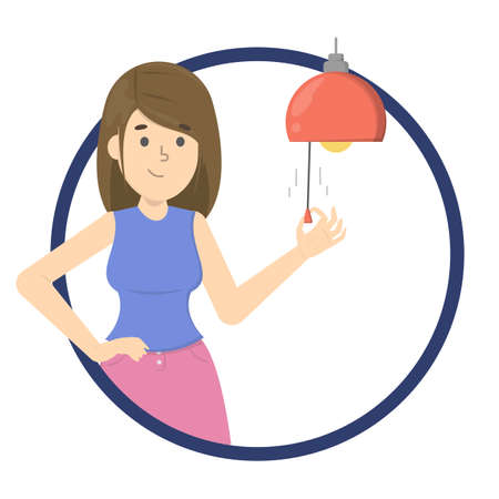 Woman turn off the light on the lamp. Saving electric energy in the night. Switch off the light for bedtime. Isolated flat vector illustration