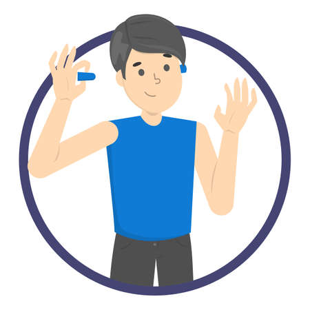 Man use earplug to reduce noise and sleep good. Happy person in blue shirt. Isolated flat vector illustration