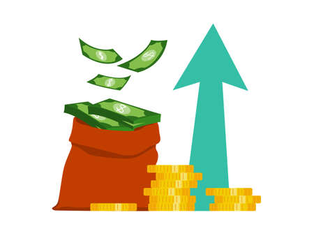Business finance growth concept. Idea of money increase. Investment and income. Budget profit. Flat vector illustration