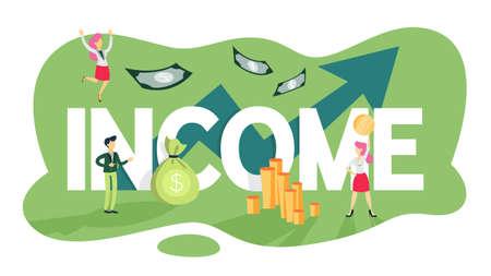 Wachstumskonzept für die Unternehmensfinanzierung. Idee der Gelderhöhung. Investitionen und Einkommen. Budgetgewinn. Flache Vektorillustration