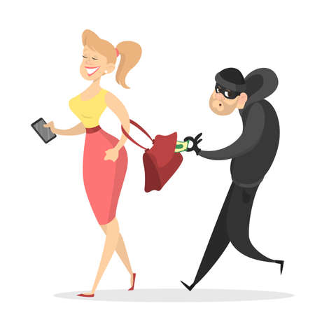 Thief or burglar stealing money from woman bag. Man in the mask with money. Criminal character. Isolated vector illustration in cartoon style Illustration