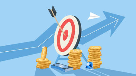 Wooden arrow on a target as a metaphor of achievement. Idea of growth and leadership. Finance wealth. Flat vector illustration