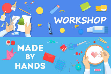 Workshop concept horizontal banner set. Idea of education and creativity. Creative skill improvement and art lessons. Isolated vector illustration in cartoon style Çizim