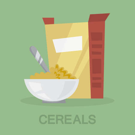 Cereal with milk for a healthy breakfast. Food from the box. Cornflakes as healthy meal. Flat vector illustration