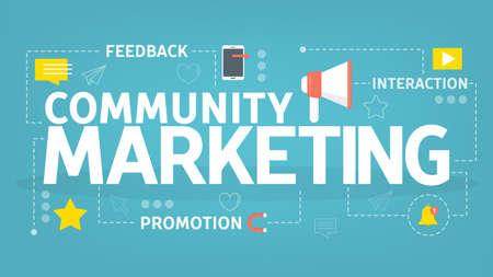 Community marketing concept. Promotion through the communication