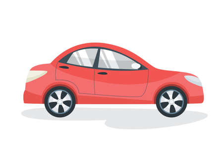 Red auto. Car or automobile vehicle. Fast transport for family. Flat vector illustration Stock Illustratie