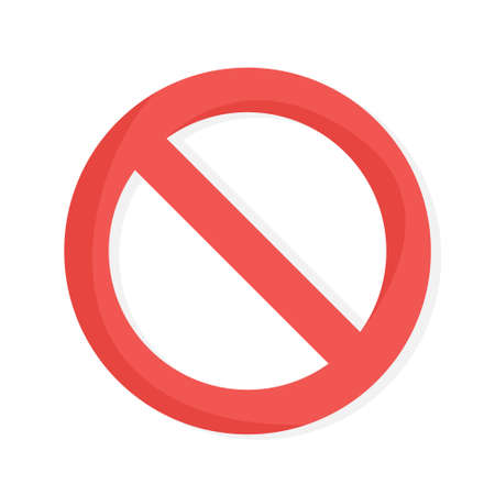 No red sign. Circular forbidden sign. Symbol of something is prohibited. Isolated flat vector illustration