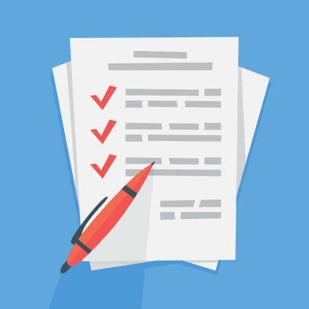 White document with sign on it. Agreement with license. Legal paper and red pen on it. Flat vector illustration Ilustrace