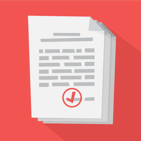 White document with sign on it. Agreement with license. Legal paper and stamp on it. Flat vector illustration