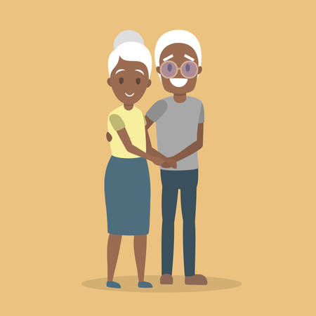 Old couple. Cute elderly african amercian character happy together. Grandmother and grandfather in love hug. Isolated flat vector illustration