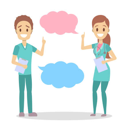 Male and female doctor talk using speech bubble. People from clinic make recommendation. Isolated flat vector illustration