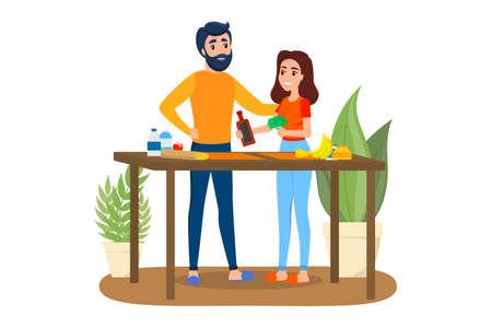 Homme et femme cuisinant ensemble. Le mari et la femme préparent le petit-déjeuner. Couple heureux à la maison. Illustration vectorielle isolée en style cartoon