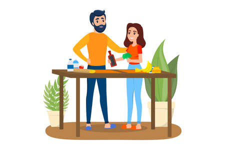 Man and woman cooking together. Husband and wife make breakfast. Happy couple at home. Isolated vector illustration in cartoon style