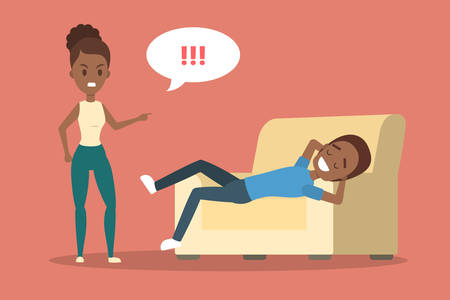 Angry african american woman yelling at her boyfriend. Man lying on couch in relax. Couple fight and argue. Flat vector illustration