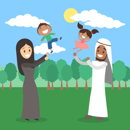 Happy arab family spend time together in the park Illustration