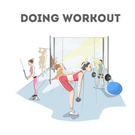 Woman doing exercises in the gym. Workout with dumbbell