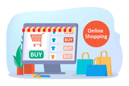 Online shopping on website. Buy clothes online. E-commerce and delivery concept. Order goods and get them fast and easy. Isolated vector illustration Illustration