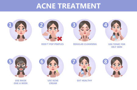 Tips for acne treatment. How to get a clear face instruction. Problem with face. Healthcare and beauty. Blackheads and pimples. Isolated vector illustration