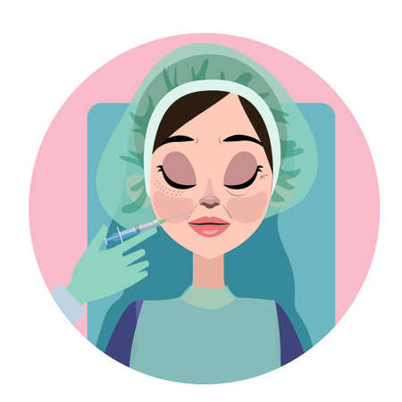 Woman with aging wrinkle make injection for beauty. Medical procedure in clinic with syringe. Isolated vector illustration