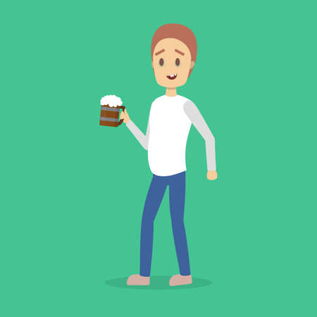 Drunk man with alcohol addiction with cup of beer. Male character addict to unhealthy habit. Vector flat illustration