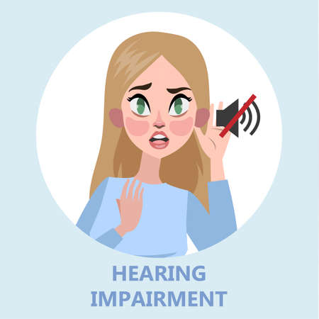 Woman with hear impairment as a symptom of disease.