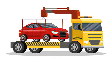 Roadside assitance with borken car on it. Tow truck transportation to repair service. Isolated flat vector illustration Banque d'images - 127434640